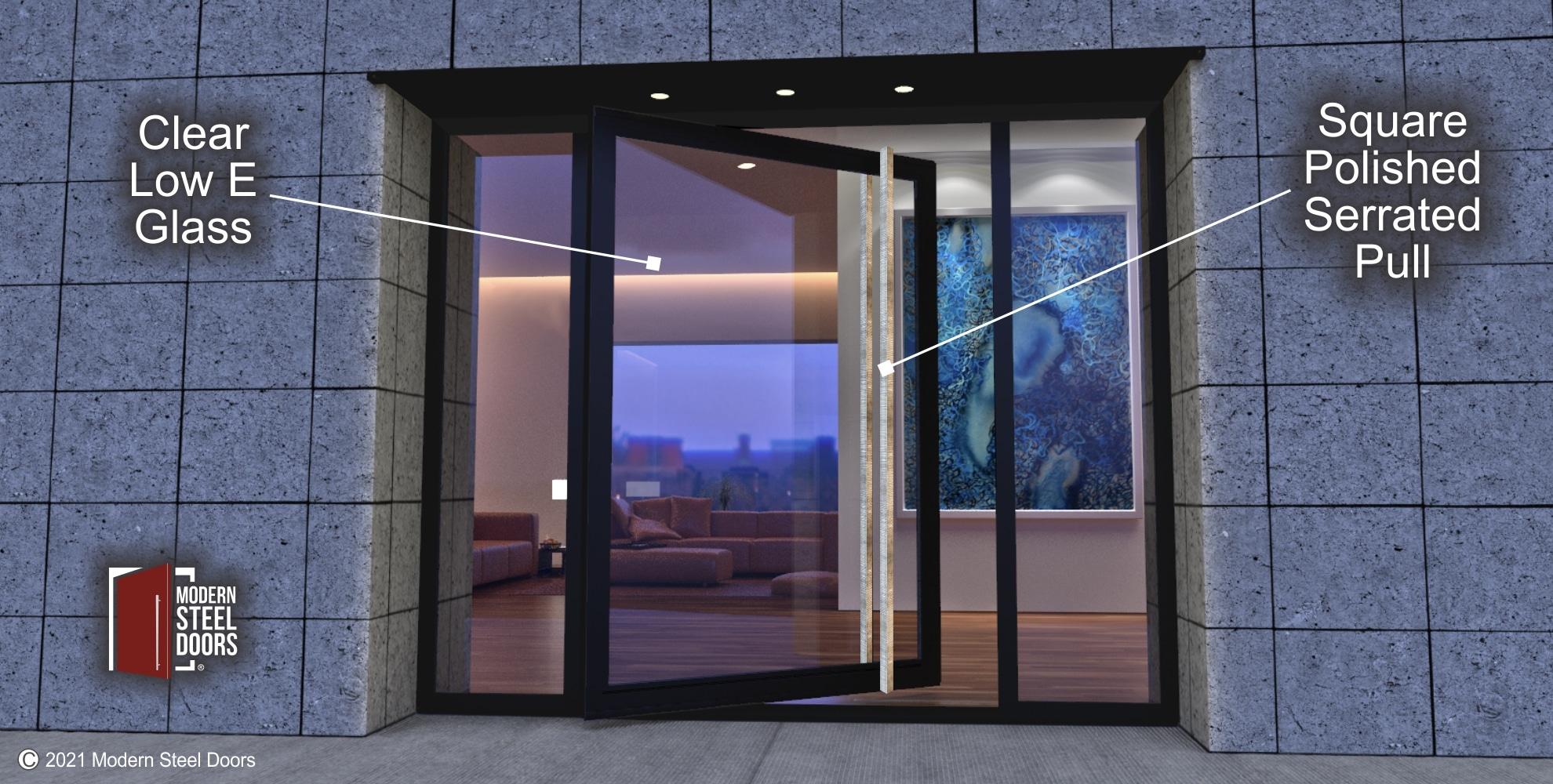 GLASS PIVOT DOOR WITH CUSTOM POLISHED DOOR HANDLES AND SIDELIGHTS
