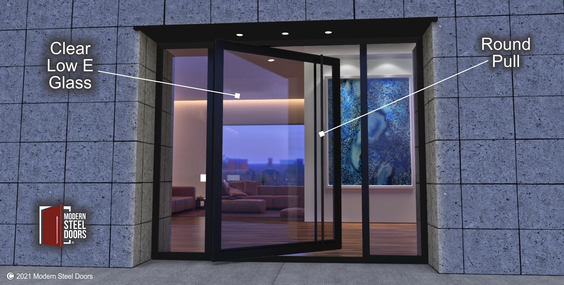 GLASS PIVOT DOOR WITH DOUBLE GLASS SIDELIGHTS