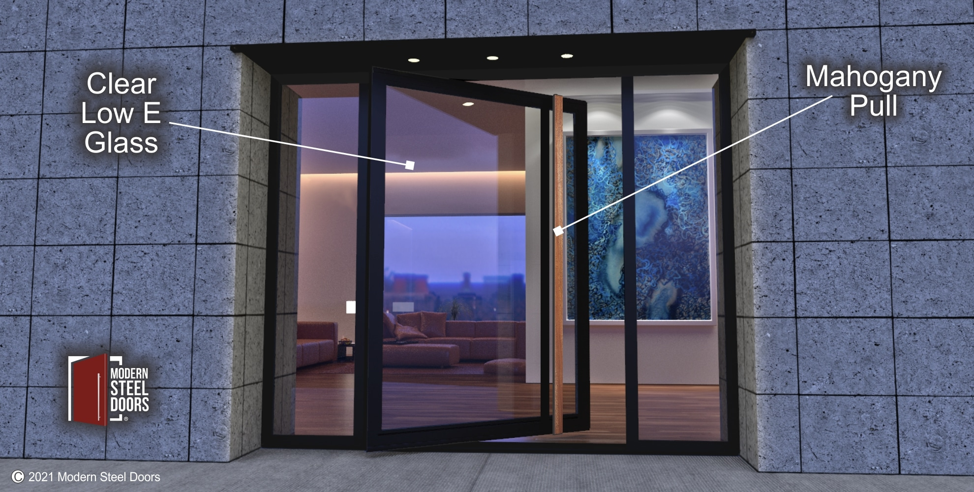 GLASS PIVOT DOOR WITH MAHOGANY PULLS AND SIDELIGHTS