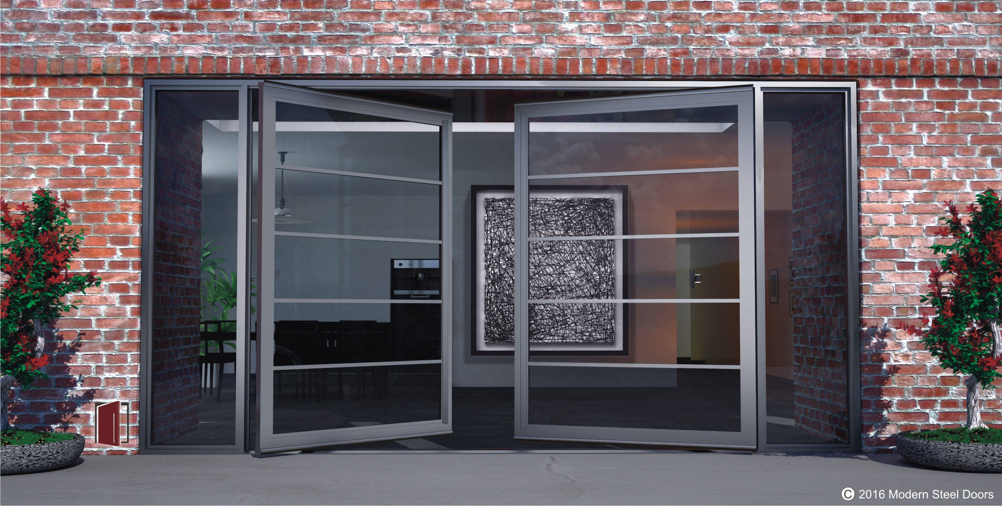 large double pivot doors made of segmented glass and steel with sidelights