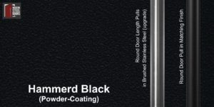 hammered black powder-coated paint finish with round stainless steel door pulls and round black door handles