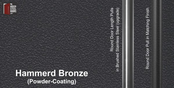 hammered bronze powder-coated paint finish behind round stainless steel door handles and round black door pulls