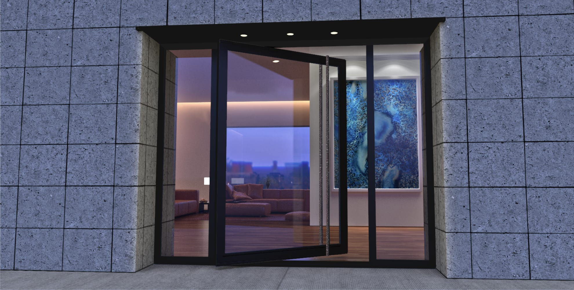 large glass and metal front door with round shape custom door handles and sidelights for modern home