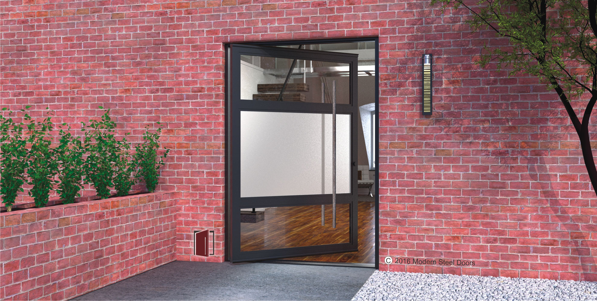 horizon single pivot door design made of clear and frosted glass panels with round custom made door pulls on red brick home front
