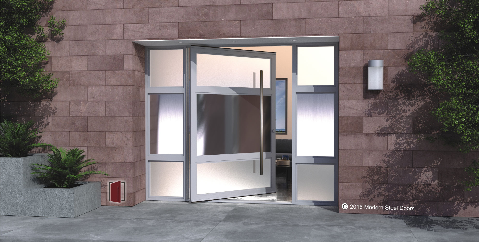 horizon modern steel door design made of tinted and frosted glass with square stainless steel door pulls and sidelights