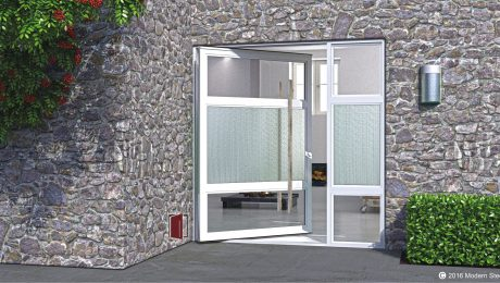 large contemporary front door design made of clear and detailed glass with square custom serrated door handles and sidelight
