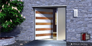 luxury front door design made of steel and mahogany wood with long stainless steel door hardware and sidelight