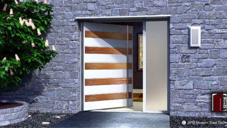 MAHOGANY-EDGE-SINGLE-DOOR-WITH-ROUND-BRUSHED-STAINLESS-DOOR-LENGTH-PULLS-&-SIDELIGHT