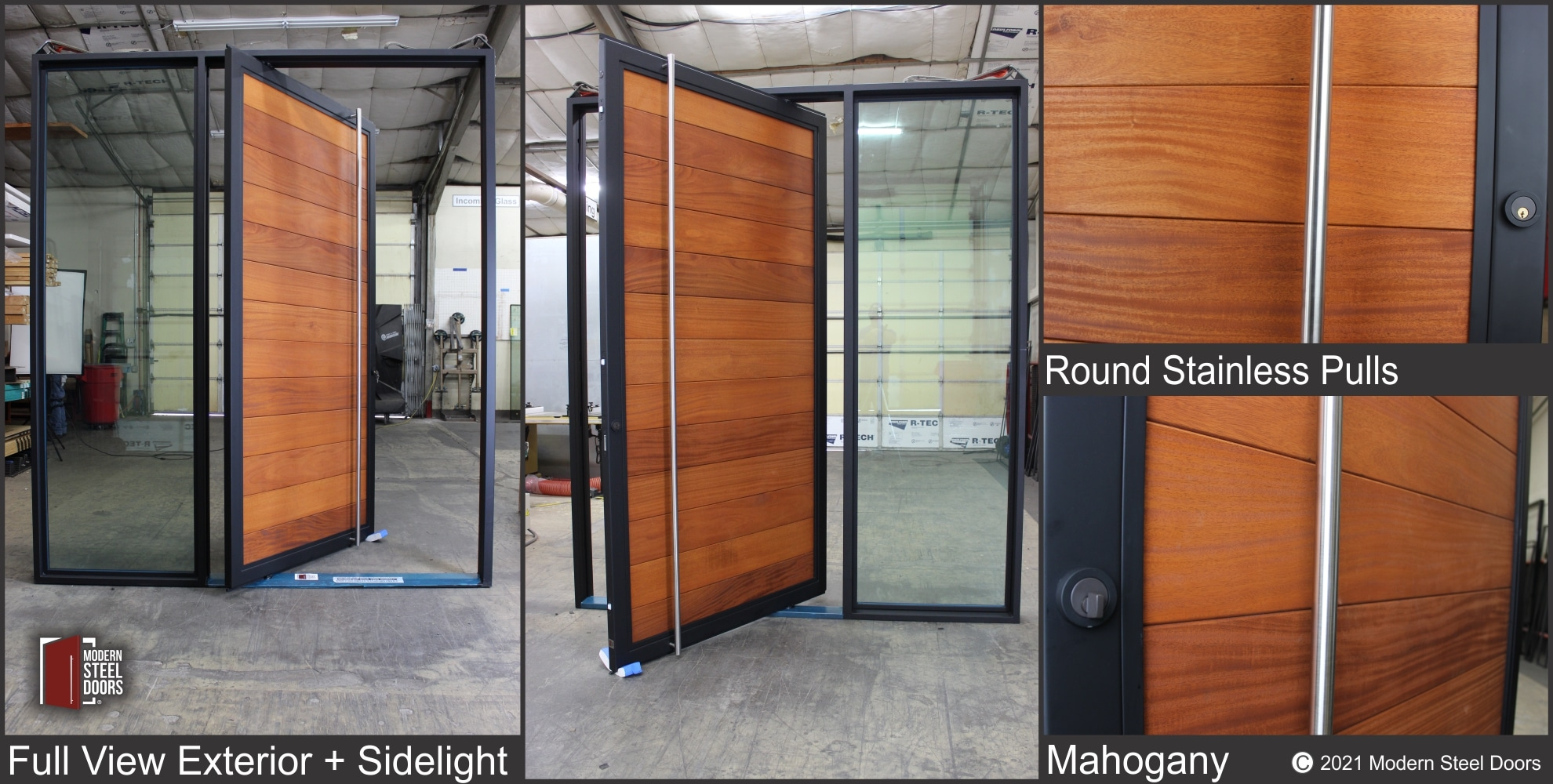 MAHOGANY FULL VIEW PIVOT DOOR WITH ONE LARGE SIDELIGHT
