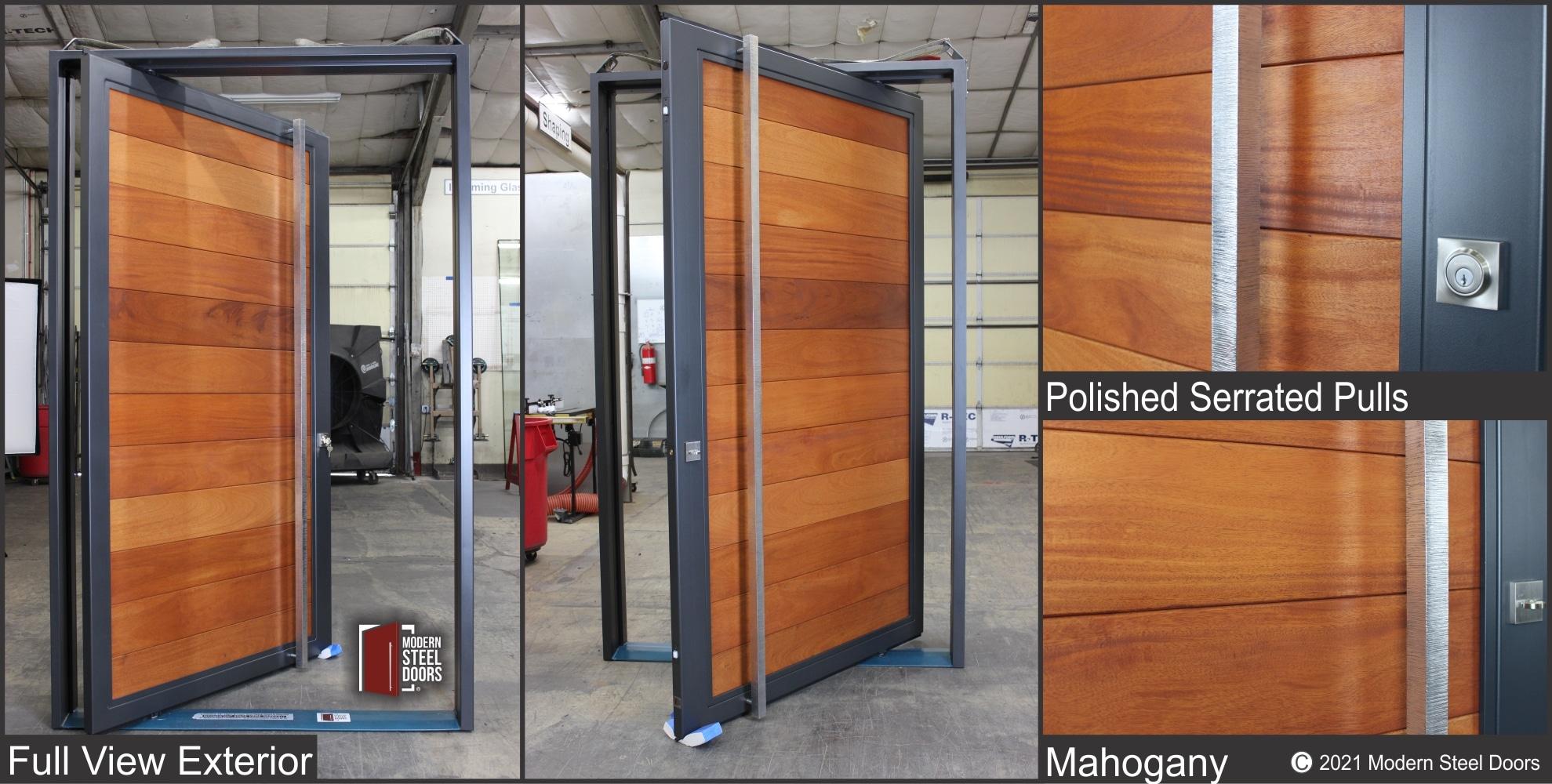 MAHOGANY FULL VIEW PIVOT DOOR WITH SCULPTED PULLS