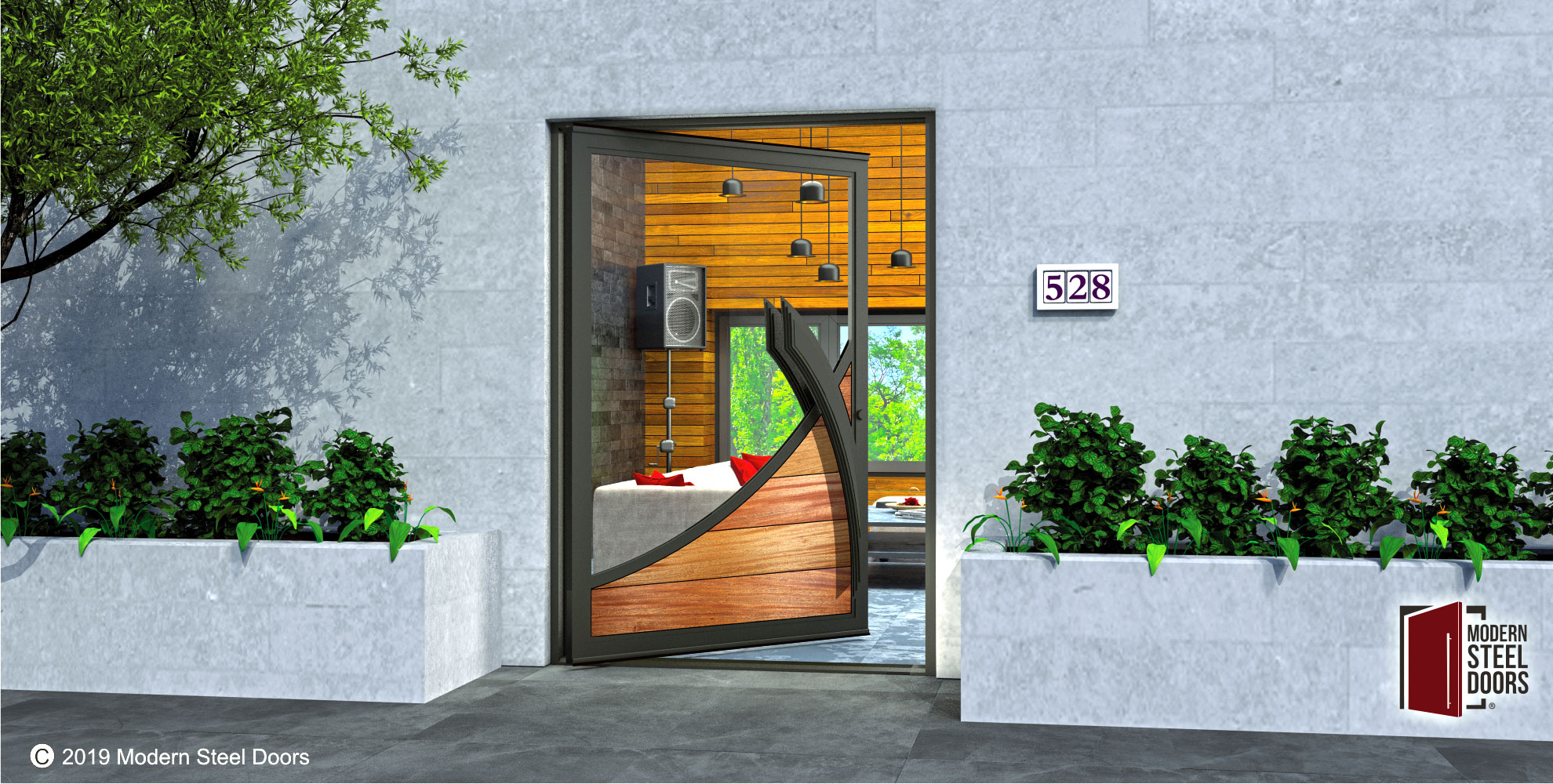 luxury entry door made of glass and authentic mahogany wood with custom modern door handles