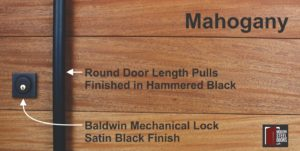 authentic mahogany hardwood behind round black door hardware and baldwin black door lock