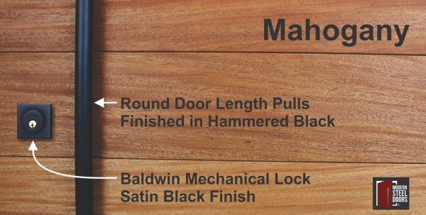 authentic mahogany hardwood behind round black door hardware and baldwin black door lock