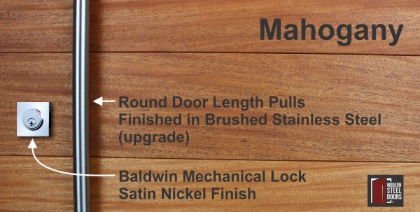 mahogany wood with round stainless steel door handles and matching stainless door lock