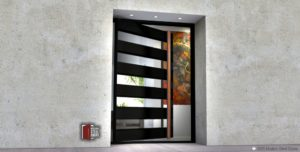 METAL AND GLASS FRONT DOOR WITH WOOD PULLS