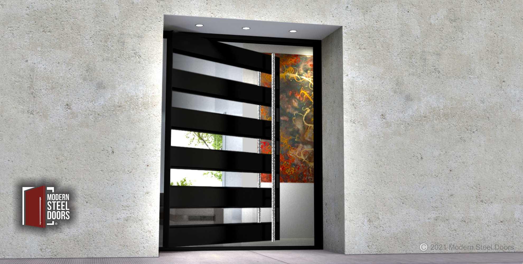 METAL AND GLASS FRONT DOOR.