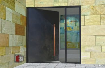 MODERN METAL DOOR WITH CUSTOM WOOD DOOR HANDLES