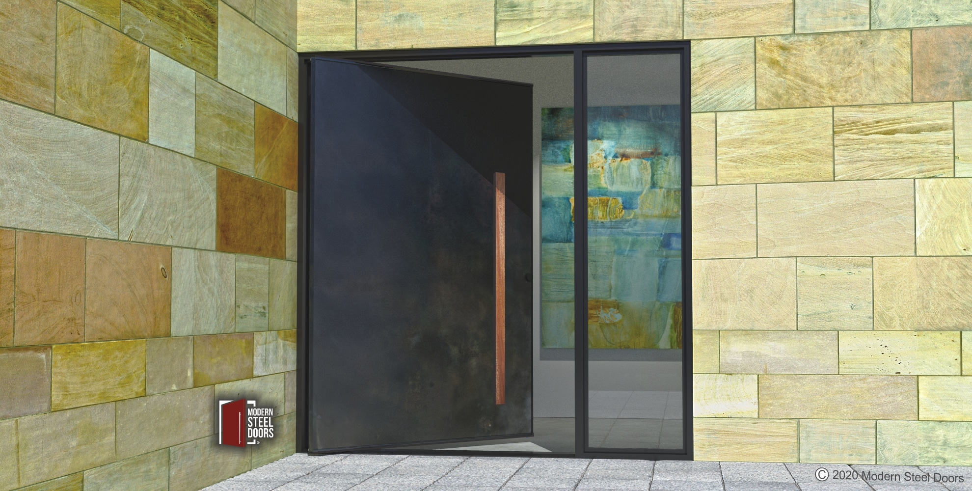 MODERN METAL DOOR WITH CUSTOM WOOD DOOR HANDLES