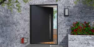 MODERN METAL FRONT DOOR WITH BRUSHED STAINLESS PULLS