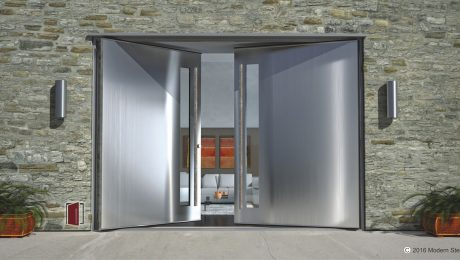 metal brushed stainless steel pivot double door with door lites and square hand polished and serrated door pulls