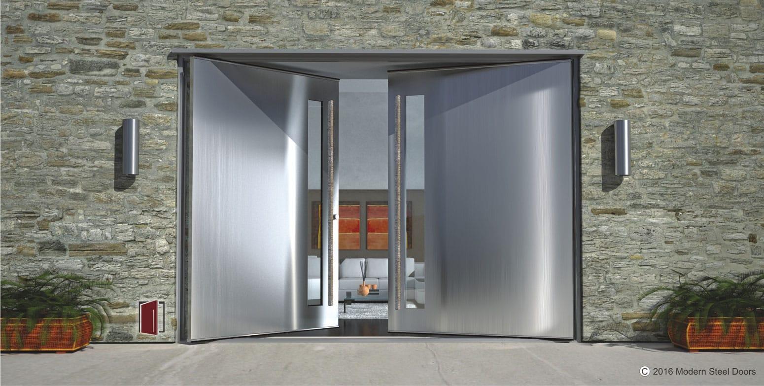 Stainless Steel Double Front Doors Metal Double Entry Doors