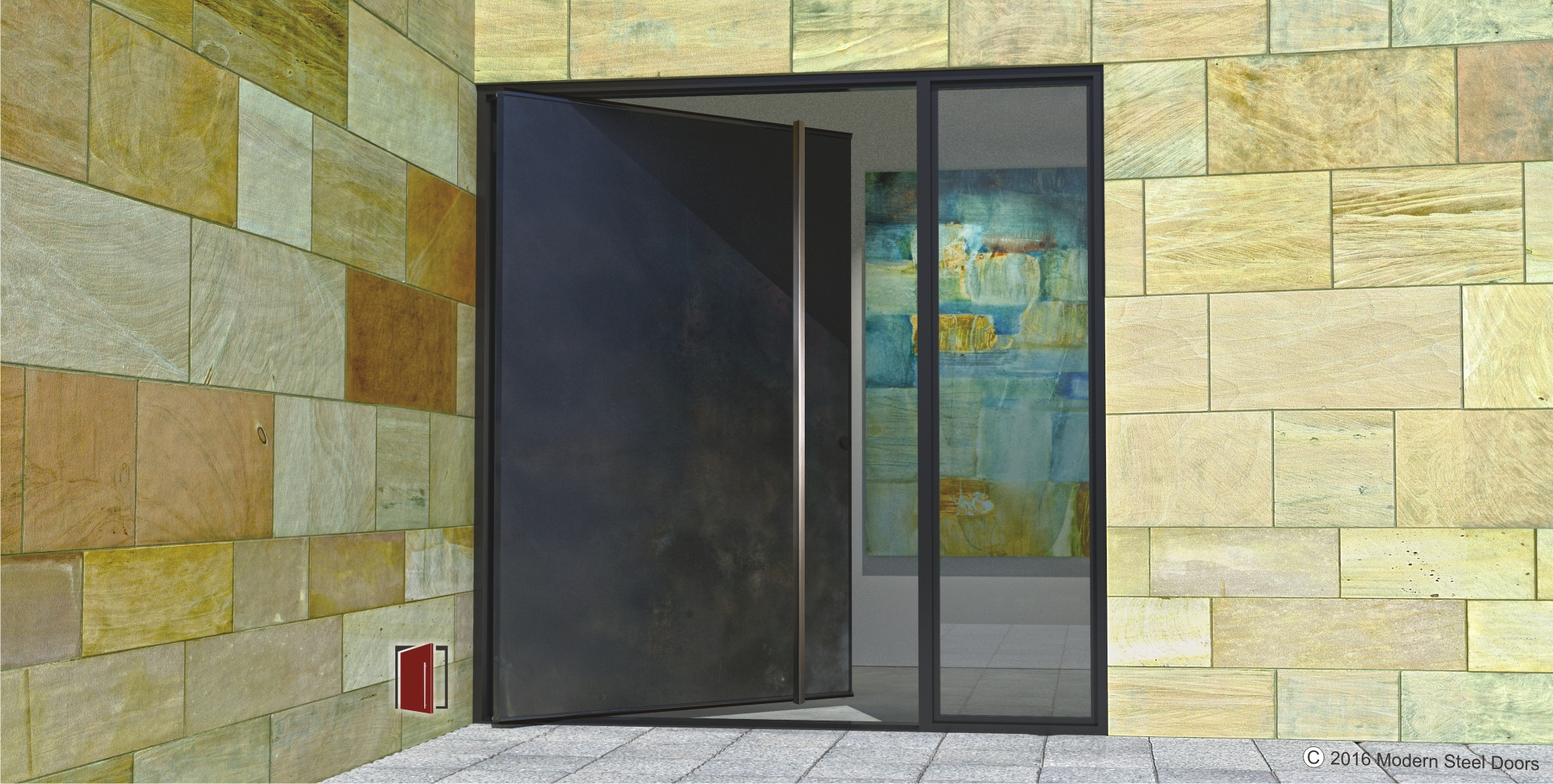 contemporary front door made of metal with square brushed stainless steel door pulls and sidelight