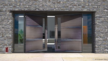 large modern home entry door made of horizontal metal panels with door lites, sidelights and square stainless hardware