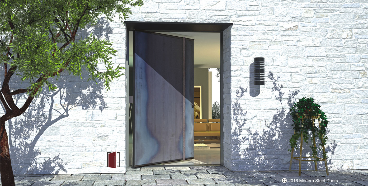 raw metal pivot exterior front door with round artisan door hardware on white brick home