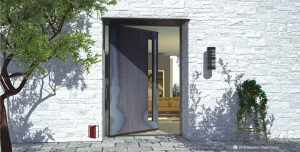 simple front door for modern home made of metal with door lite and round handmade door hardware