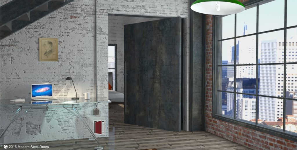 modern entrance pivot door made of raw steel with round door hardware in urban setting