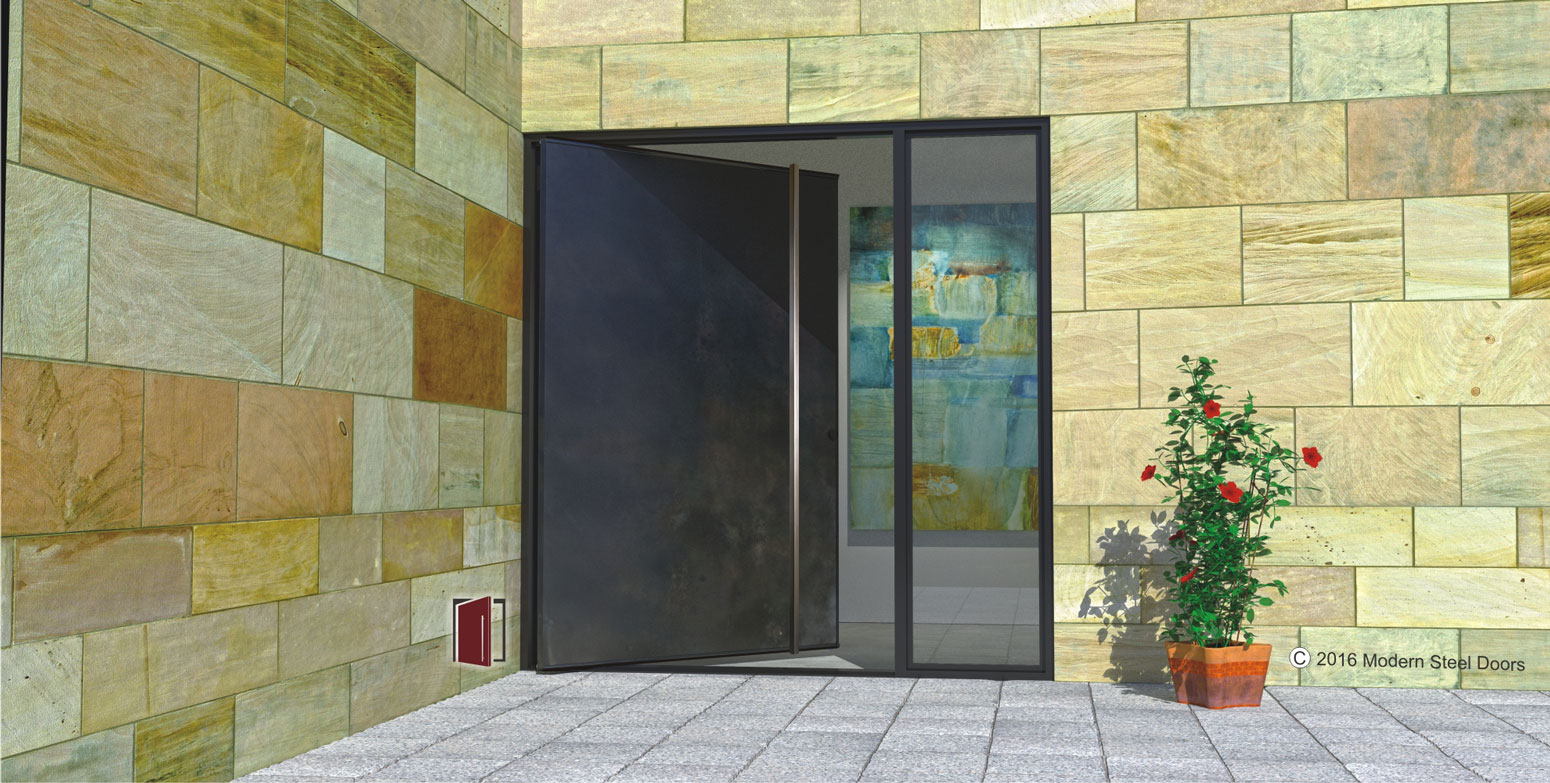 modern pivot single front door made of metal with square brushed stainless door length door pulls and sidelight