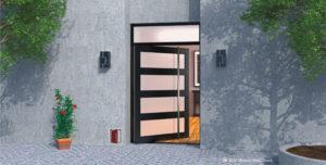modern exterior door made of glass and steel with door length door handle and transom