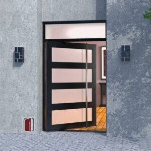 front door design made of metal and glass panels with square stainless steel door handle and transom