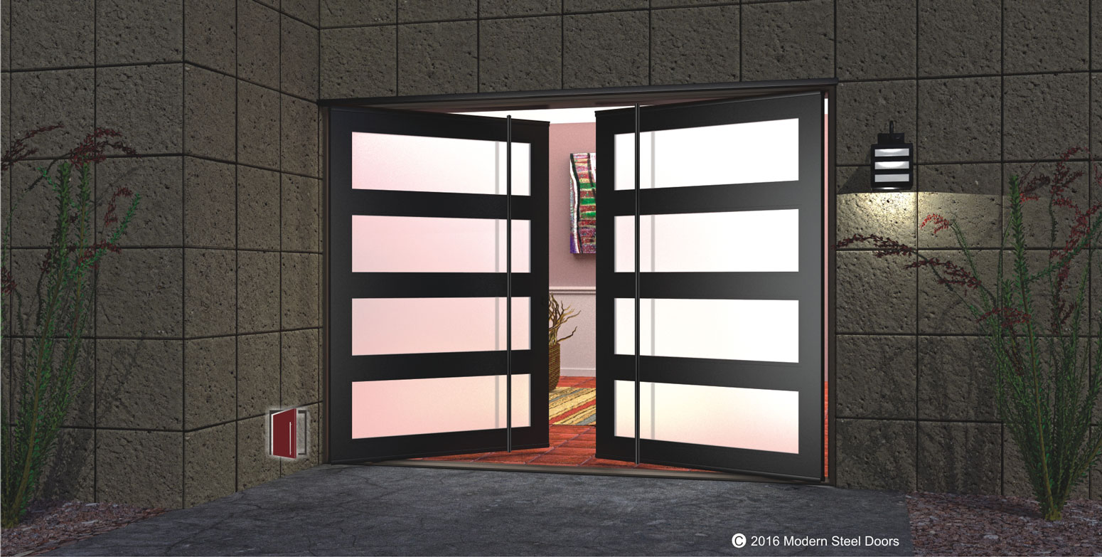 double pivot front door design made of black metal and frosted glass horizontal panels with round full length black door pulls