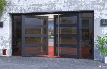black front door made of metal tinted glass panels with round custom door handles and tinted matching sidelights