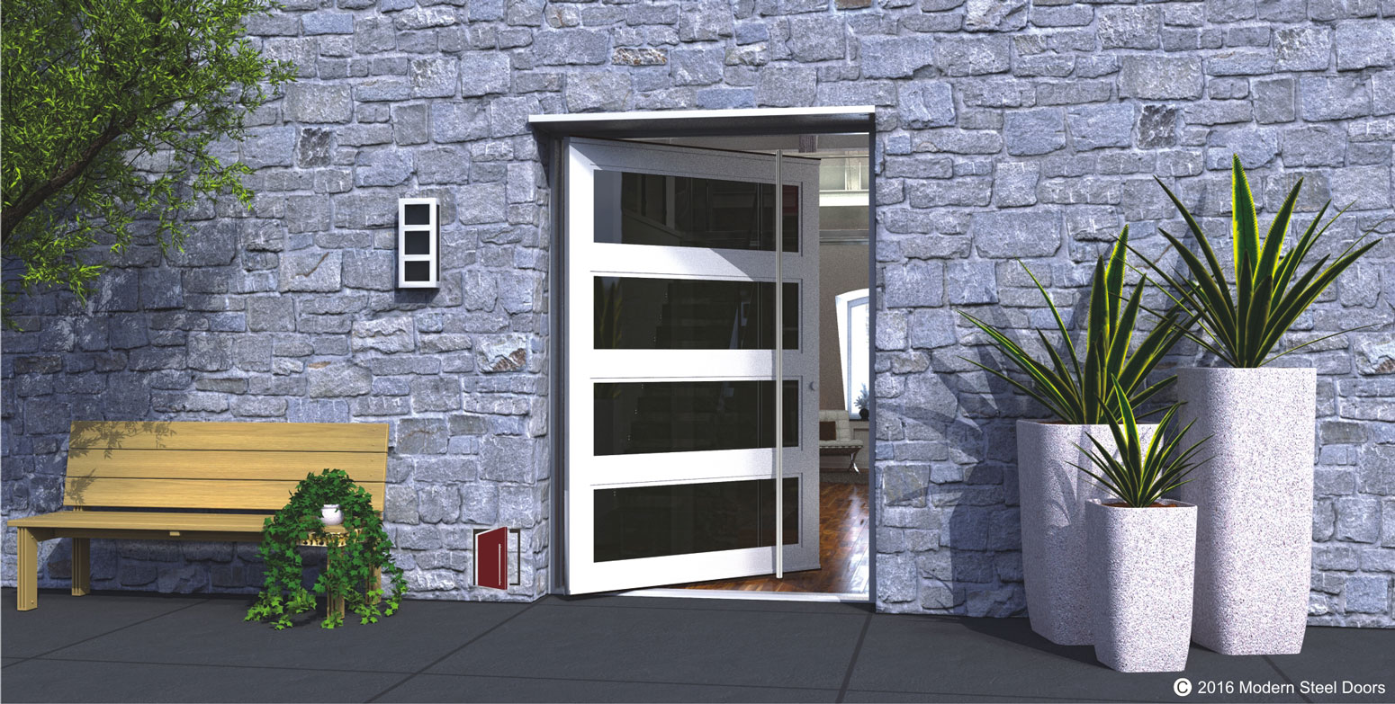 glass front door made of metal and tinted glass with round full length stainless steel door hardware
