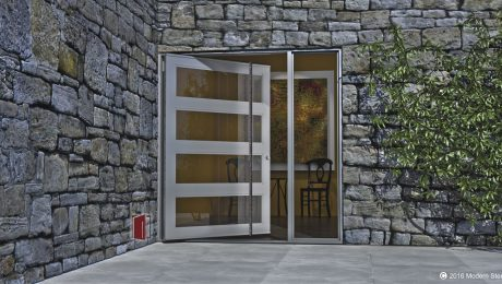 new modern front door design for contemporary homes made of glass and metal with long round custom door pulls and sidelight