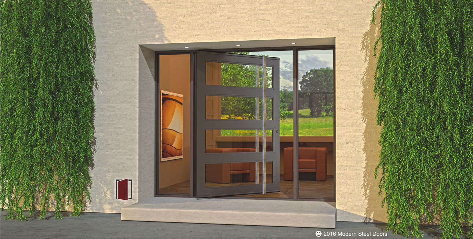 single contemporary front door made of glass and steel with square custom modern door handles and glass sidelights