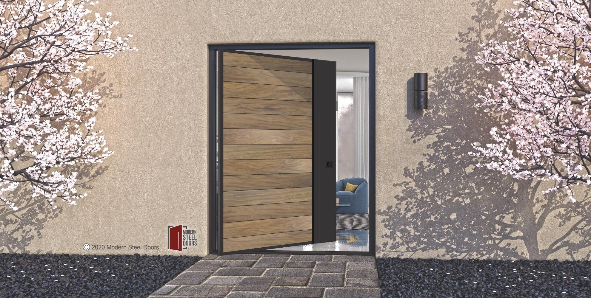 WOOD FRONT DOOR WITH ACTIVE METAL STILE