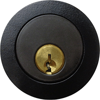 black round door lock with matching paint finish
