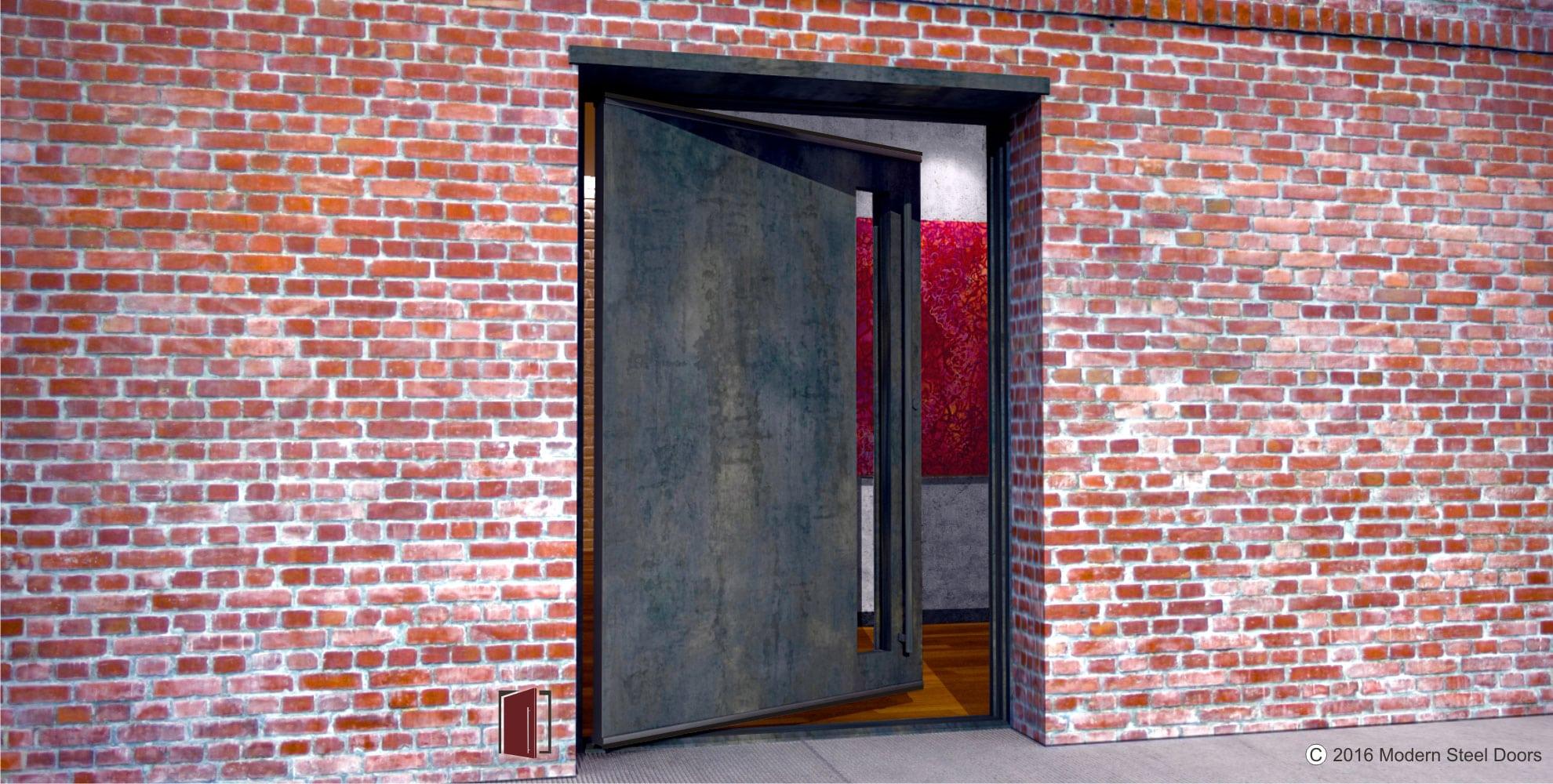 raw steel single pivot door with transparent door lite and round matching steel door pulls