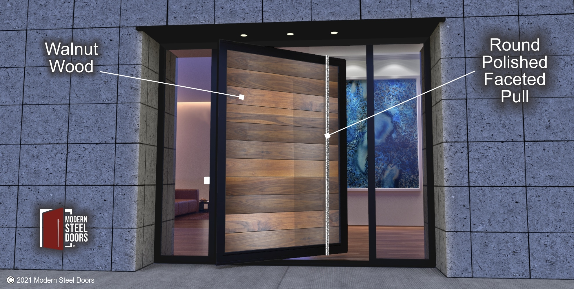 SOLID WALNUT PIVOT DOOR WITH CLEAR GLASS SIDELIGHTS
