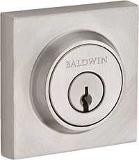 satin nickel square baldwin deadbolt front door lock