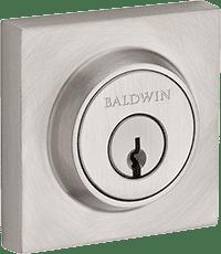 satin nickel square baldwin deadbolt front door lock