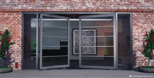 segmented double pivot front door design made of horizontal glass panels with concise hardware and sidelights