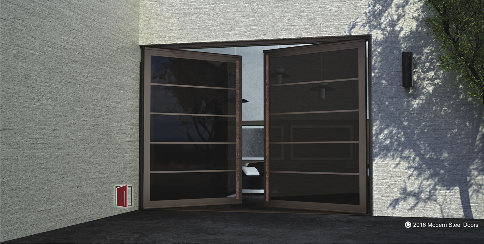 segmented bronze double door made of tinted glass segments and round copper door handles