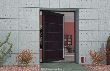 single modern pivot door made of dark tinted glass segments with brushed stainless concise door pulls
