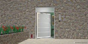 modern front door made of textured glass with matching white door handles and transom