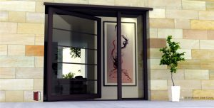 contemporary exterior door design for modern homes made of horizontally segmented glass panels with matching hardware and sidelight