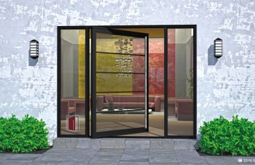 segmented single pivot door made of glass and square hand serrated custom door handles with sidelights